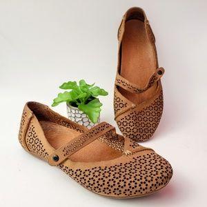 Olukai Nene Perforated Mary Jane Leather Flats 6.5